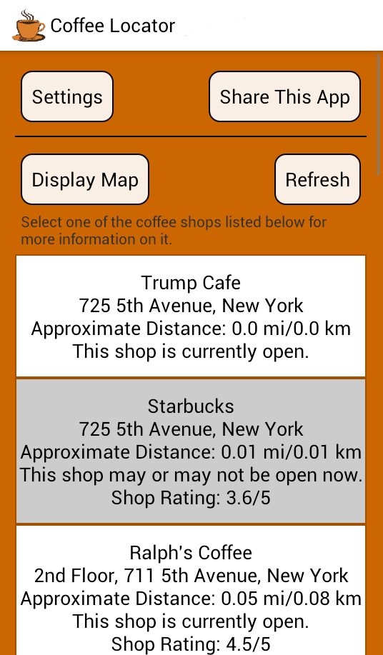 Coffee Shop List Screenshot
